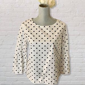 Tommy Hilfiger Polka Dot Bell Sleeve Top Medium